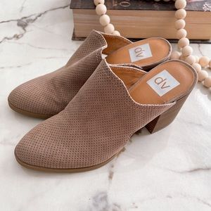 Dolce Vita Taupe Perforated Mules